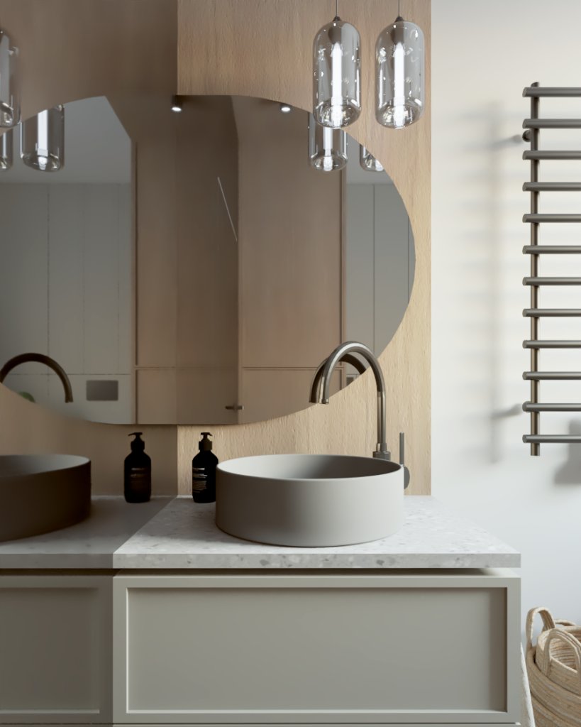 Łazienka wzabudowie drewnianej zlustrami łukowymi ipełnym przeszkleniem ściany bocznej,
