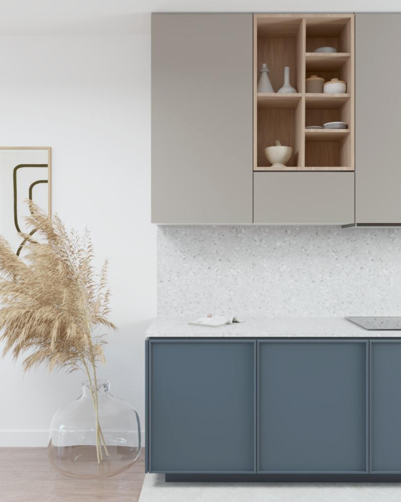 Układ blatowej kuchni przy ścianie zblatem ipłytą indukcyjną, okap ukryty wszafkach podwieszanych.