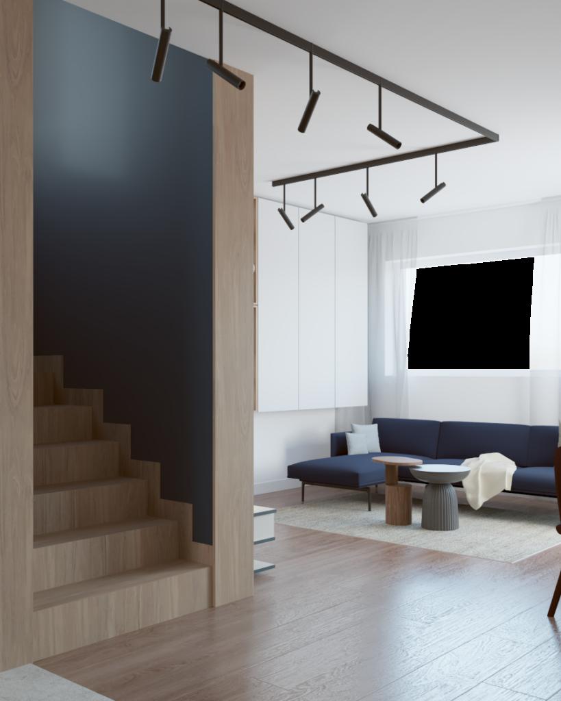 Salon zwidocznymi schodami napiętro, całość wfornirze drewnianym izdrewnianą podłogą
