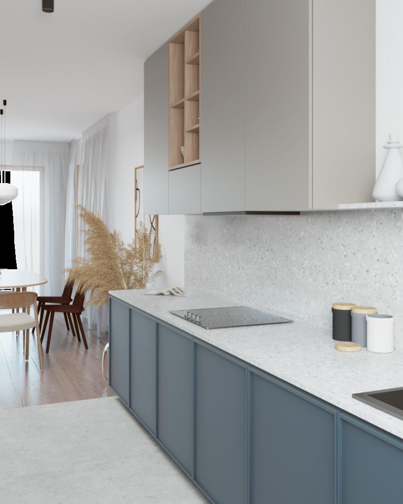 Układ kuchni wkształcie litery L zposadzką zpłytki ceramicznej