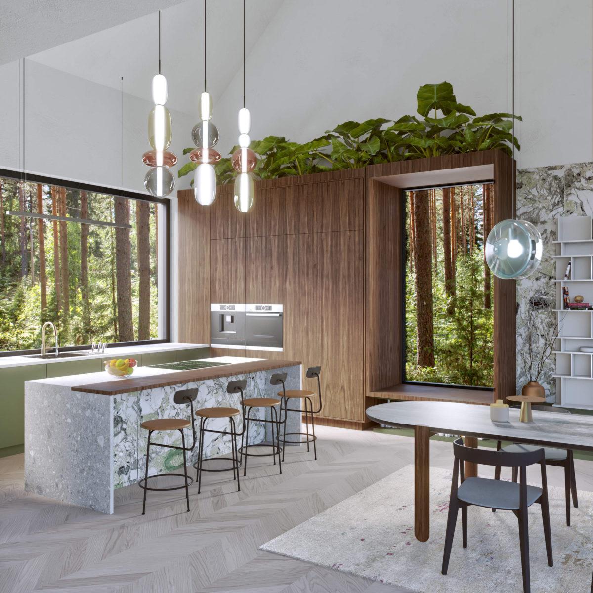 Fornir drewniany w kuchni