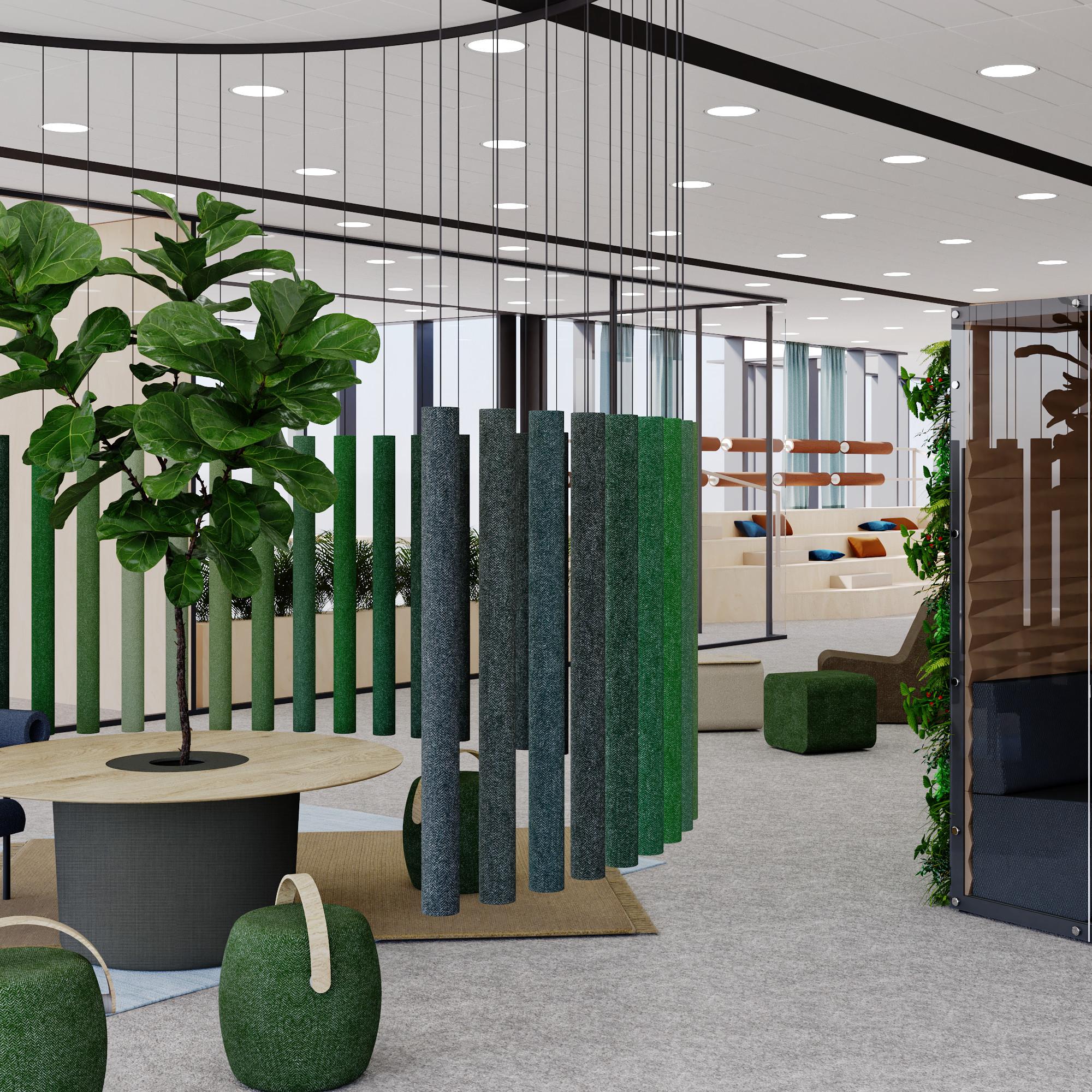 Sala spotkań typu brainstorming przy zieleni zodgrodzeniem ścian akustycznych