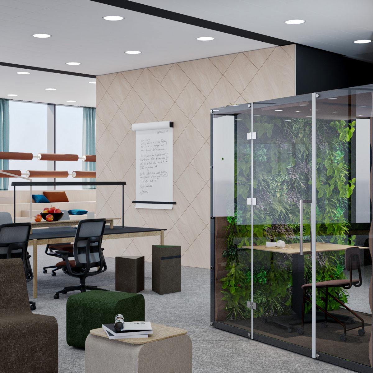 Zamknięte pomieszczenia szybkich spotkań wraz ze strefą pracy wspólnej z jednym stołem pracownicznym dla zespołu pracowników