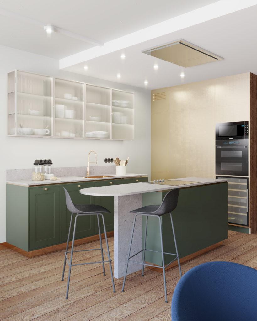 W przypadku wysokiej zabudowy kuchennej istnieje możliwość ukrycia chłodziarki wewnątrz zabudowy.