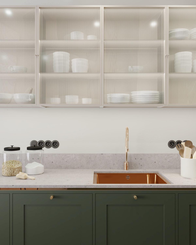 Szafki kuchenne podwieszane w szkle ornamentowym z lekko widocznymi naczyniami kuchennymi