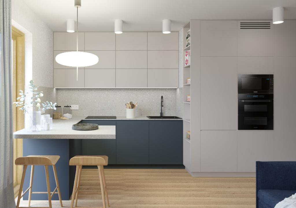 Aranżacje kuchni wmałym mieszkaniu. Wszystkie sprzęty kuchenne ukryte wzabudowie przyściennej aneksu kuchennego.