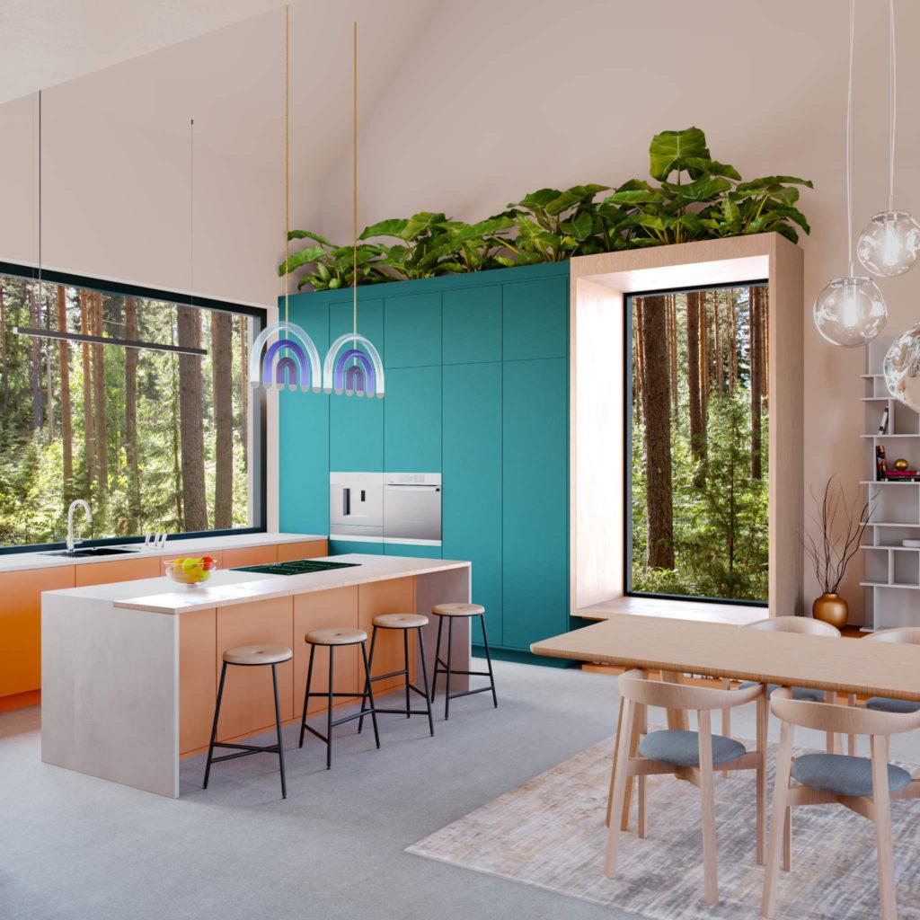 Aranżacja kuchni wdużej przestrzeni zwyspą kuchenną istrefą jadalni - dywan, krzesłą, stół rozkładany
