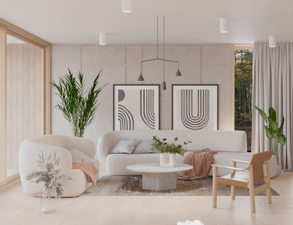 Widok nasalon wdomu jednorodzinnym, projekt zona architekci. Wnętrze domu wstylu skandynawskim - japandi. Ciepłe barwy, sztukateria iróżne odcienie dębu. Wykorzystanie drewnianej podłogi dopozostałych mebli domowych.